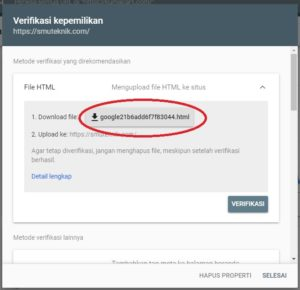 kode verifikasi google search console