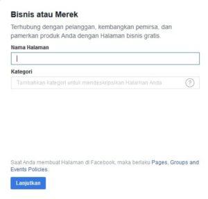 kategori bisnis di fanpage facebook