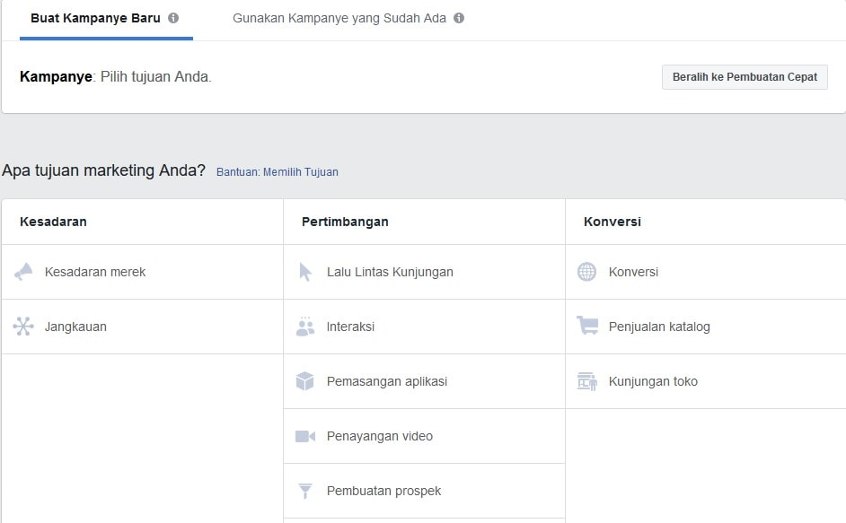 kategori iklan facebook