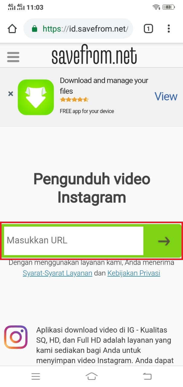 cara unduh video instagram di savefromnet