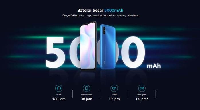 kapasitas baterai jumbo 5000mAh Xiaomi Redmi 9A